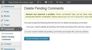 delete-pending-comment-wordpress